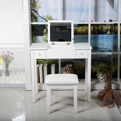 White Dressing Table Makeup Desk & Stool Drawers and Oval Mirror Bedroom Cabinet