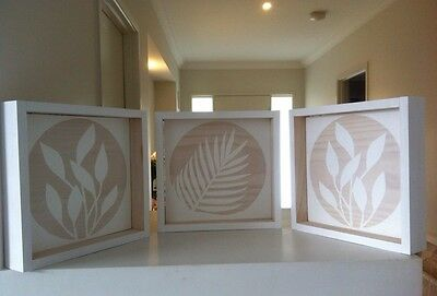 Timber Wall Art (Three Panel) In White Wood Gallery Display Circle Leaf Insert
