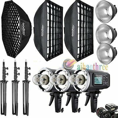 3Pcs Godox AD600BM 600W HSS 1/8000s Flash Strobe Light Softbox Trigger Dish Kit
