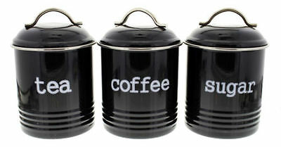 D.Line Colonial Set Of 3 Tea/Coffee/Sugar 1 Litre Canisters – Black