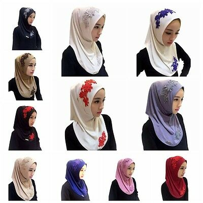 New Muslim Lace Embroidery Floral Caps Hijab Islamic Scarf Hats Bonnet Shawl US