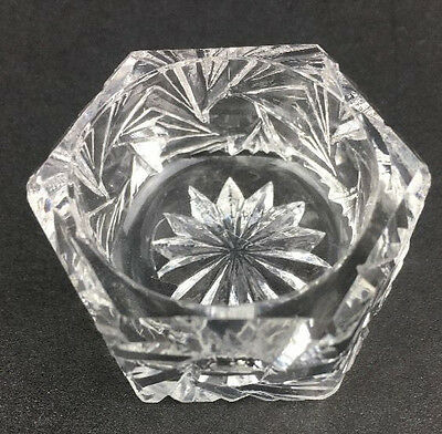 Vtg Salt Cellar Cut Glass Crystal Hexagon Starburst Swirl Open Dip Antique MI306