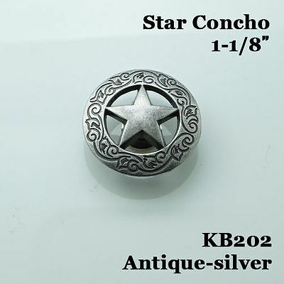 【KB202】10pc 1-1/8'' Texas Star Concho Western Equestian Tack Antique-Silver