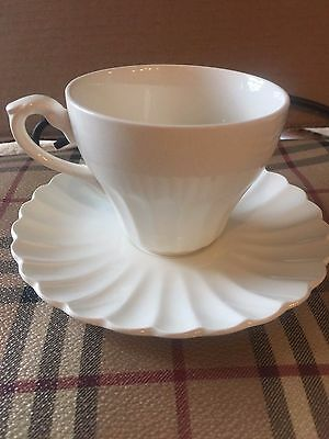 "Vintage J & G Meakin ""Classic White"" Flat Cup & Saucer Set - Lot of 6!"