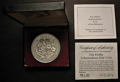 1976 Bahamas 10 Dollar Silver Proof Coin 1.46 oz .925 purity - low mintage