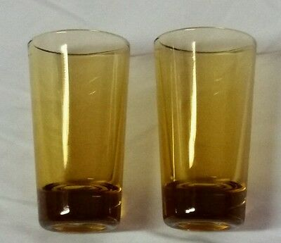 """LAST SET Of Two Beautiful Vintage Amber Shot Glasses Made In Japan 2 1/2"""" Tall"""