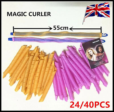 24/40X 55CM Hair Roller Hot DIY Curlers Large Magic Circle Spiral Styling Tools