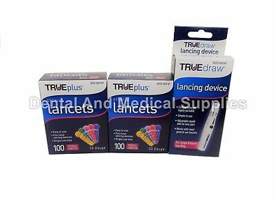 200 True Plus 33G Sterile Lancets + FREE True Draw Lancing Device FREE SHIPPING