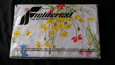 NEW Vintage Fieldcrest Perfection Percale Twin Flat Sheet Floral Flowers 66 x 96