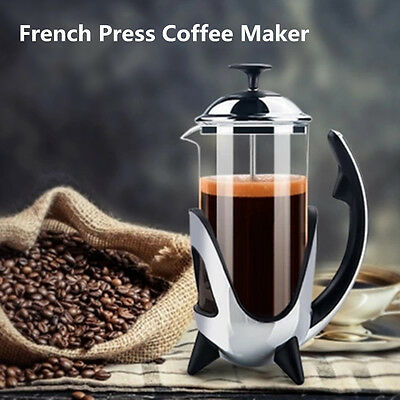350ml Stainless Steel Glass Cafetiere Tea Pot French Press Coffee Plunger Maker