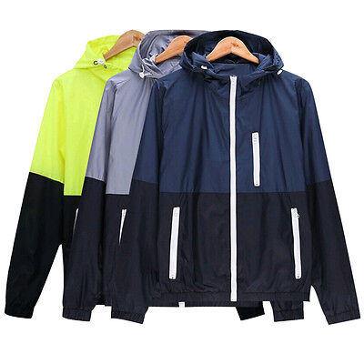 Men's Jacket Coat Causal Hooded Thin Windbreaker Zipper Up Outwear Tops