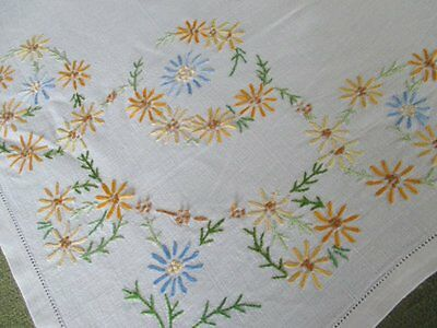 """VINTAGE TABLECLOTH HAND EMBROIDERED with  FLOWERS-LINEN- 50""""sq."""