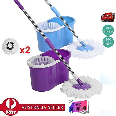 Spin Mop Stainless Steel 360 Degree Spinning Dry Bucket with 2 Mop Heads JUO