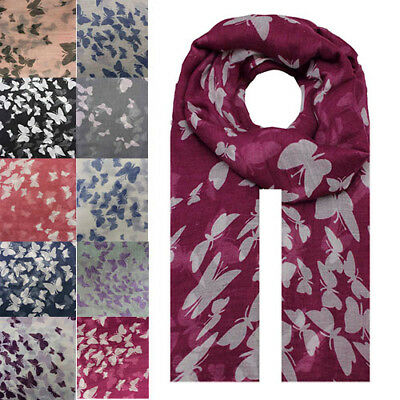 Women Lady Butterfly Animal Printing Soft Large Summer Spring Autumn Wrap Scarf