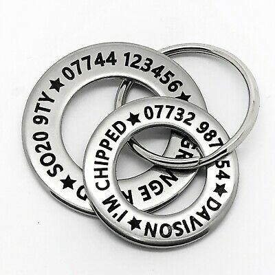 Funky LARGE DOG Pet Dog ID Disc Tag - Stainless steel polo washer FREE ENGRAVING