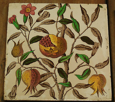 A SET OF 10 VICTORIAN FIREPLACE TILES WITH LOVELY POMEGRANATE DESIGN ref 703