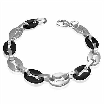 Stainless Steel Black 2-Tone Round Chain Link Bracelet