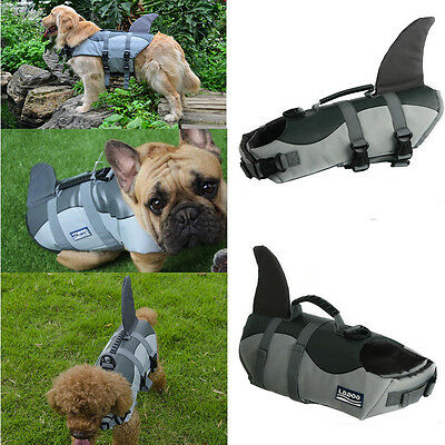 Pet Dog Life Swimming Jacket Shark Float Vest Adjustable Buoyancy Aid Costume UK
