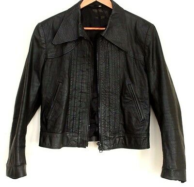 Mens vintage cropped leather jacket size 42
