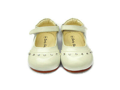 Girls White Patent Shoes Flower Girl Bridesmaid Party Shoes Toddler Size 3
