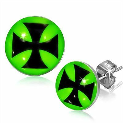 Stainless Steel Maltese Cross Design Stud Earrings