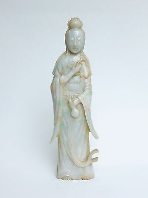 Antique Chinese 19th/20th Century Carved Jadeite Figure of Guanyin 28.5cm LARGE
