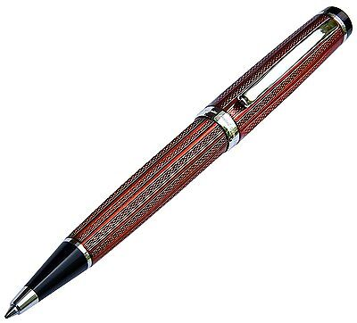 Xezo Incognito Brass Ballpoint Pen in Copper-Red Color. Diamond-Cut 856469005014