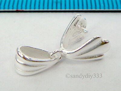 1x BRIGHT STERLING SILVER PINCH IN PENDANT BAIL CLASP SLIDE CONNECTOR #2233