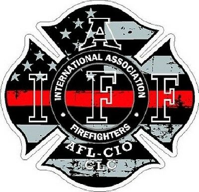 4 Inch Non-Reflective IAFF Thin Red Line Maltese Distressed Flag Sticker Decal