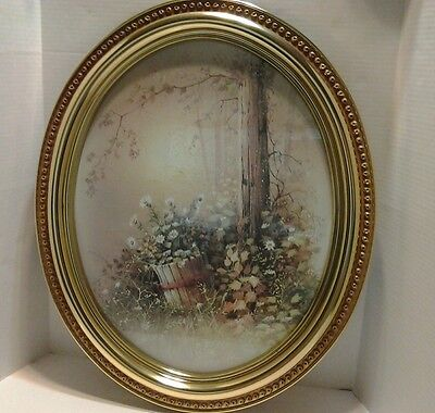 Homco Home Interior Wall Hanging Oval Picture Art Daisies