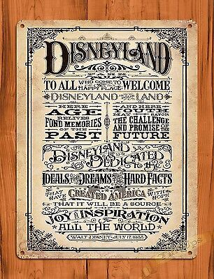 "Disney Tin Sign ""Disneyland Welcomes You"" Art Painting Ride Poster Dedication"