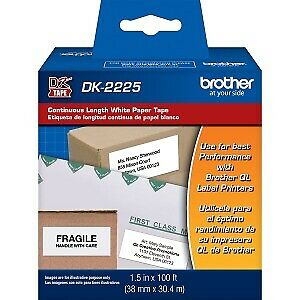 """Brother DK2225 1.5"""" x 100ft Black on White Continuous Length Paper Tape"""