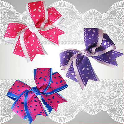 """20 BLESSING Happy Girl 4.5"""" Carving Cheer Hair Bow Clip Flower Hairbow"""