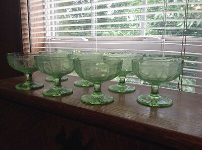 7 green Depression vaseline glass pudding custard ice cream dessert cups