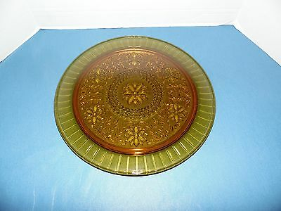 "Heavy Pressed Gold Glass Cake/Pie Plate Server Raised Pattern 13"" Round"