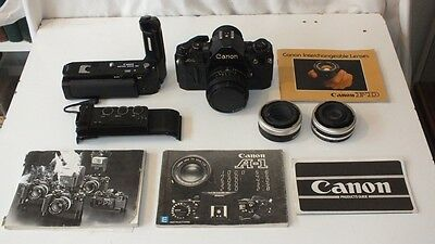 Vintage CANON A-1 35mm SLR Camera + Lens + MA Motor Drive Data Back and Extras