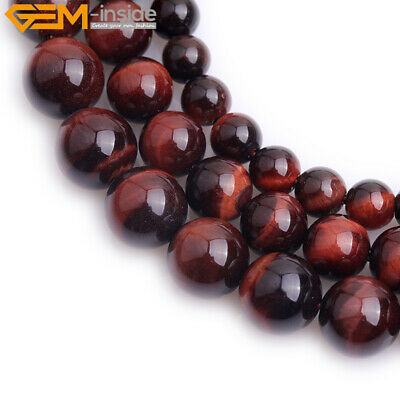 AA Grade Round Genuine Natural Red Tiger eye Stone Beads for Jewelry Making 15''