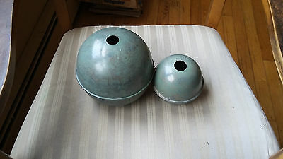"""Set Of 2 Blue Verde Antique Finish Copper Balls For A Weathervane - 6"""" And 4"""""""