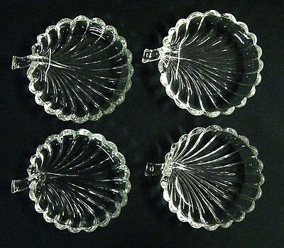 "4 Heisey Glass ""Crystolite"" Leaf 6"" Breakfast Preserve Dishes, Jam / Jelly, Exc!"
