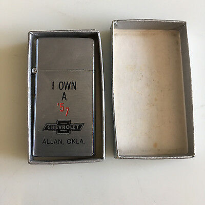1957 Chevrolet promotional lighter from dealer in Allan, Oaklahoma, never used!!