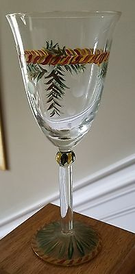 "Gail Pittman CHRISTMAS MEMORIES 8 1/4"" Glass Goblets  Set of 3   Hard-to-find"