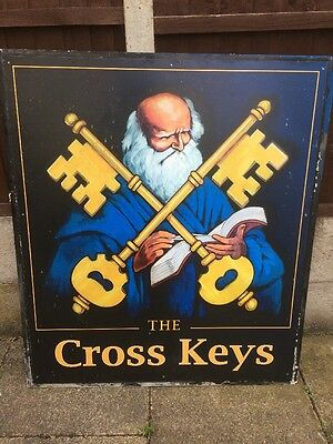 Authentic Reclaimed Pub Sign Man Cave Home Bar Dad Grandad The Cross Keys