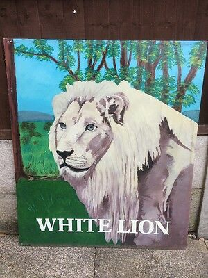 Authentic Reclaimed Hand Painted Animal Sign Pub Bar Taxidermy WHITE LION