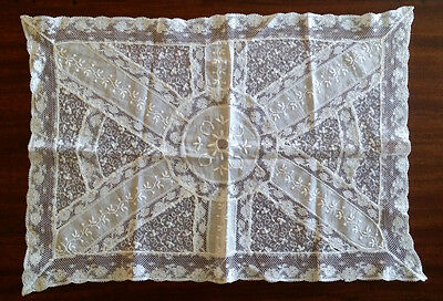 VINTAGE French NORMANDY Net LACE Fine ANTIQUE Pillow Cover Table Mat DOILY