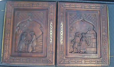 Antique French  wood pair of panels Breton