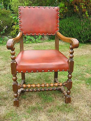 Baronial Oak and Leather Open Arm Chair