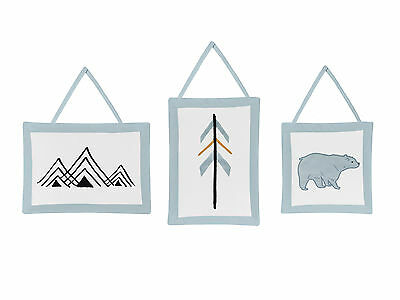 Wall Art Decor Hanging Sweet Jojo Blue Bear Mountain Baby Boy Kids Bedding Set
