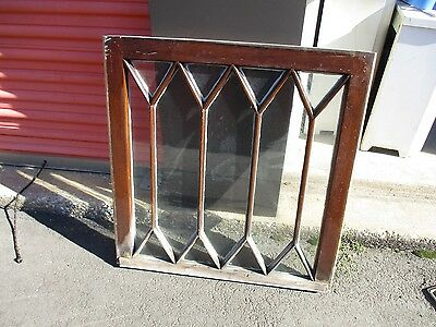 Vintage Antique Clear Glass Leaded Glass Window Top Sash Wavy Glass 34 X 29
