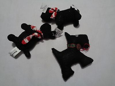 lot of 3 scottie scottie dog Christmas ornments 2 kniitted and one handmade felt
