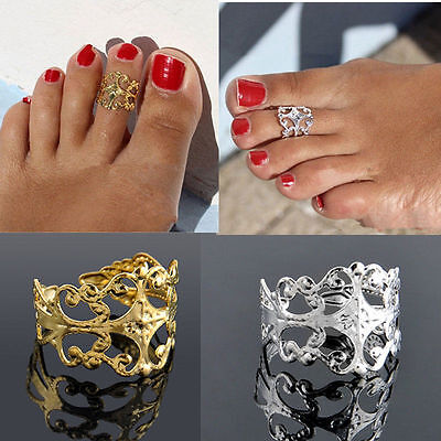 US SHIP Women Lady Elegant Adjustable Antique Plated Silver Metal Toe Ring Foot